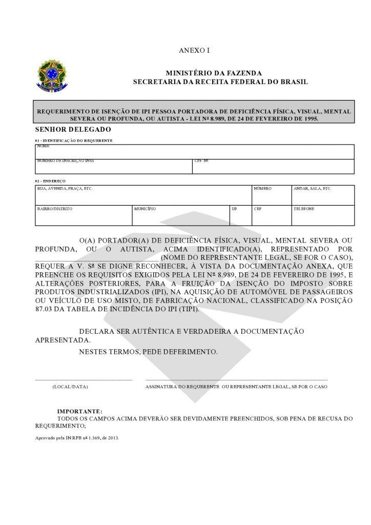 Isenção de IPI - Anexo I - IN RFB nº 1.369/2013