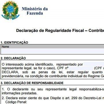 Isenção de IPI | Declaração de Regularidade Fiscal