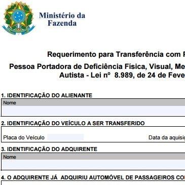Requerimento para Transferência com Pagamento do IPI