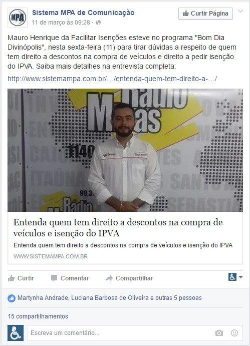 Participação no Programa Silvio Franca na Rádio Minas