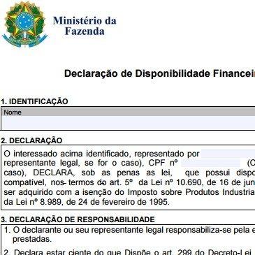 Declaração de Disponibilidade Financeira ou Patrimonial