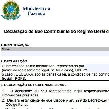 Isenção de IPI | Declaração de Não Contribuinte – RGPS