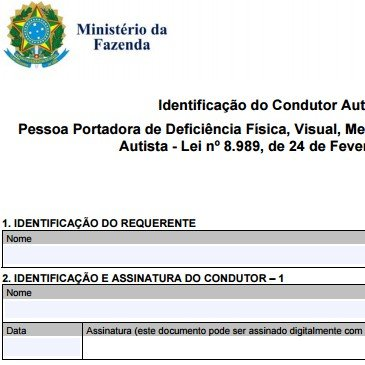Isenção de IPI   Identificação do Condutor Autorizado