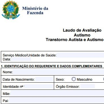 Isenção de IPI   Laudo de Avaliação Autismo Transtorno Autista e Autismo Atípico