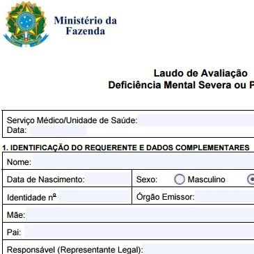 Isenção de IPI | Laudo de Avaliação Deficiência Mental Severa/Profunda