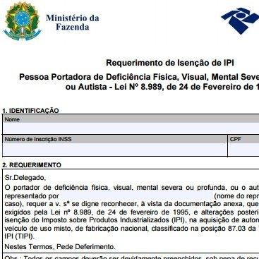 Requerimento de Isenção de IPI
