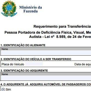 Requerimento para Transferência de Veículo